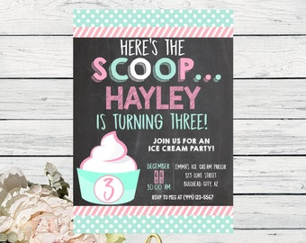 Frozen Yogurt Party:  Personalized birthday invitation- ***Digital File*** (Yogurt-Mint)