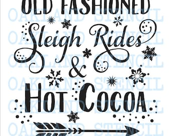 """Old Fashioned Sleigh Rides STENCIL 6 Sizes 12""""x12""""--24""""x24"""" for Painting Winter Christmas Signs Walls Fabric Airbrush Crafts Chalkboard"""