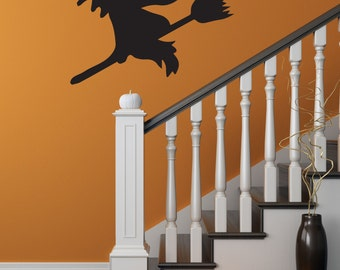 Halloween Wall Decal Witch Wall Decal Vinyl Witch Halloween Party Decor Witch On Broom