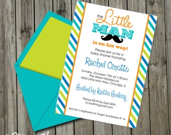 INSTANT DOWNLOAD, Babyshower, Little Man Mustache Bash Printable 5 x 7 Invitation, You Edit Yourself in Adobe Reader