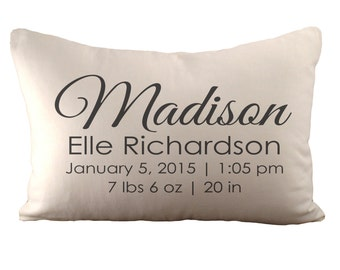 Custom Birth Announcement - Cushion Cover - 12x18 - Choose your fabric and font colour