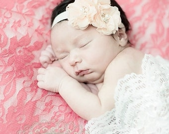 Blush Baptism Headband  Flower Girl, Wedding,  Baby Blush,  Baptism Christening Headband