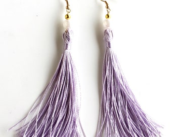 Breakfast at Tiffanys Lavender Tassel Earrings.