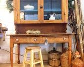 Antique Oak cabinet, hutc...