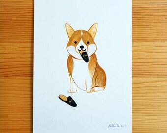 Corgi with Shoes - Original Painting
