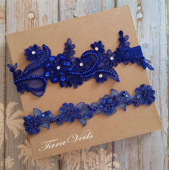 Wedding garter set Royal Blue Garter Rhinestone Royal Blue
