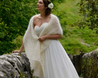 Delicate Kid Mohair Bridal Cover Up Stole / Wedding Shawl in Ivory - Available in White, Pink, Aqua, Grey, Black