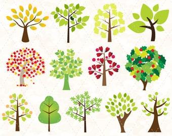 Digital Tree Clip Art Tree Clipart Green Tree Clip Art Heart Tree Yellow Tree Scrapbooking Tree Decor 0123