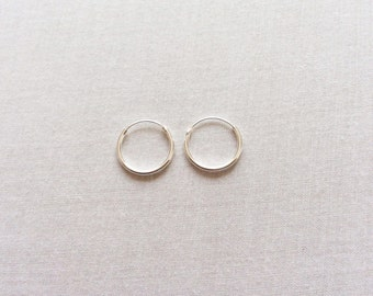 14 mm Sterling Silver Hoop Earrings - Silver Hoop Earrings - Tiny Hoop Earrings - Hoop Earrings - Small Hoop Earring -  Silver Hoop Tiny