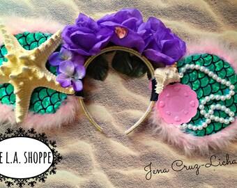 Mermaid Queen Flower Crown Mouse Ears