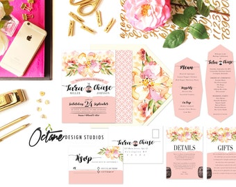 Pink Lemonade & Bourbon Invitation Suite w/ invitation, rsvp postcard, details card, gifts card  + reception menu
