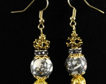 Stone and gold bead earrings