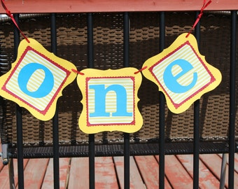 One Banner-Curious George Banner- First Birthday-Smash cake-Photo shoot- Party Decor- Highchair Banner-Yellow and Red
