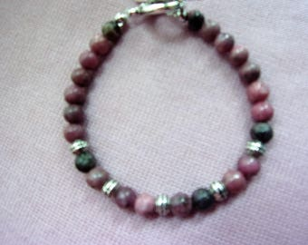 6 mm rhodonite bracelet with pewter spacer beads