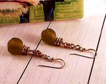 Handmade Olive Glass & Gold Earrings