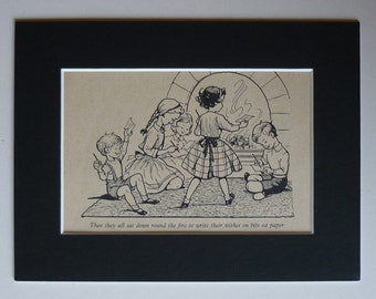 1950s Vintage Print From What Katy Did - Children's Illustration - Fireside Wishes - Children's Wish - Fireside Hearth - Boys & Girls Gift