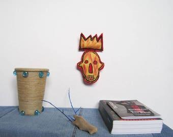 Mini King crown Basquiat graffiti pop art red Brooklyn gift unisex  birthday graduation gift home  decor yellow crown textile art sculpture