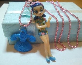 Cute teen girl and phone Figure Cute & Cool Emo Kawaii necklace Israel Hand made