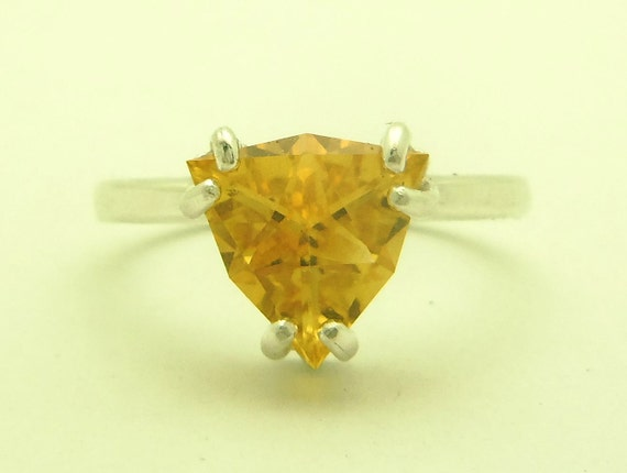 1.65 Carat Citrine Gemstone Ring Size 7 Sterling Silver Hand Cut Trillion Gem