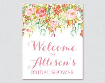 Pink Floral Bridal Shower Welcome Sign Printable - Garden Party Bridal Shower Customizable Sign - Pink and Gold Bridal Shower Decor 0004