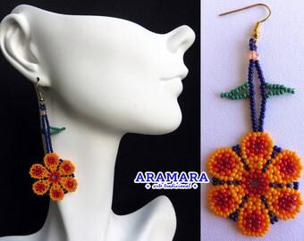 Huichol Earrings, Beaded Flower, Mexican earrings, Mexican Jewelry, Native american earrings, Flower Earrings, Mexican folk art, AF-0477