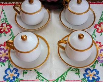 Fitz and Floyd Teacup Set Lot of Four Expresso / Teacup  Set Elegant Teacup with Lid by Fitz and Floyd