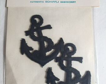 2 Vintage Nautical Black Anchors Sewing Patch/Applique/ Motifs Embroidery