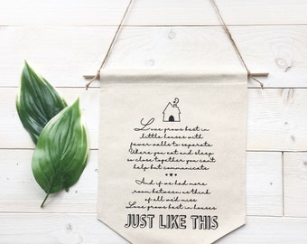 Banner - Love Grows Best in House Just Like This Banner Love Grows Best Sign Canvas Wall Hanging Farmhouse Decor Housewarming Gift Home