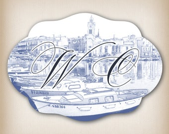 Sticker style vintage blue boats 09 WC door sign