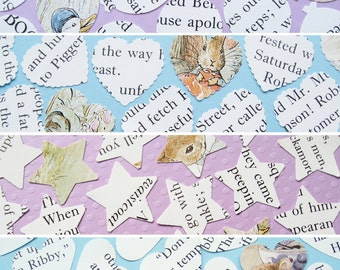 100 x 1 Inch Beatrix Potter Confetti - 5 shape choices - Baby Shower, Birthday Party, Christening, Wedding - Table Decor