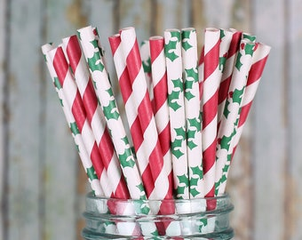 Christmas Paper Straws, Holly Paper Straws, Red Striped Paper Straws, Holiday Party Paper Straws, Christmas Party Cocktail Straws (30)