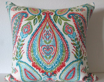Ombre Paisley Poppy colorful decorative pillow cover