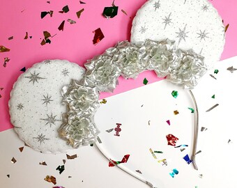 Glittery White and Silver Star Flower Crown Minnie Mouse Ears