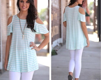 ADORABLE Mint Striped Cold Shoulder Tunic for Women | Must-Have for Spring and Summer!