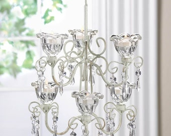 Crystal Flower Blooms Double Candle Chandelier - Metal - Glass