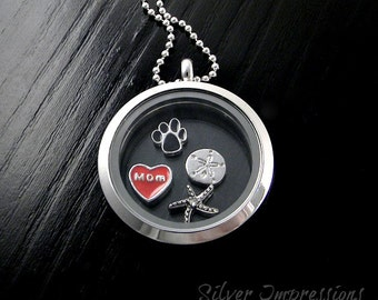 Pick 4 Charms of your choice  /  Floating Locket  /  Memory Locket  / Hand Stamped Jewelry