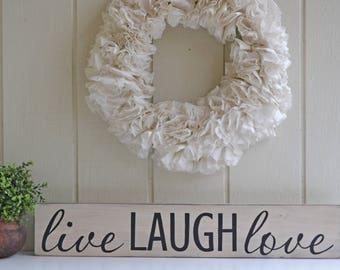 Live Laugh Love Sign, Live Laugh Love, Live Laugh Love Sign, Rustic Home Decor, Housewarming Gift, Wedding Decor,Wedding Gift