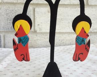 Howling Coyote wood earrings, Coyote wood earrings,Vintage Wood Carved coyote Earrings