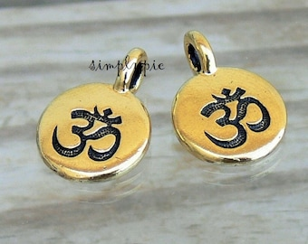 OM Pewter Charms TierraCast Antiqued Gold Tin Alloy 2 Pcs