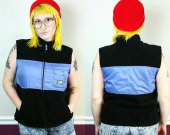 90s Vintage Fleece Vest Black Blue, LA Blues Sport Size Large, Zip Up Sleeveless Outerwear Streetwear Hip Hip Style