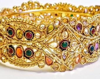 Indian kada/Indian cuff bracelet/Bangle/Hinged bracelet with pin/ Multi-colored gemstones/Meenakari bracelet/Kundan bracelet/22K Gold plated