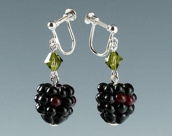 Blackberry Earrings Screw back Lampwork bead fruit jewelry for non-pierced ears, birthday or Mother's Day gift for gardener, cook, chef