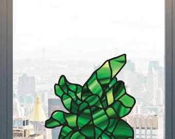 CLR:WND - Potted Fiddle Leaf Fig Tree - Stained Glass Style - See-Through Vinyl Transfer Window Decal - Copyright 2017 YYDCo. (Size Choices)