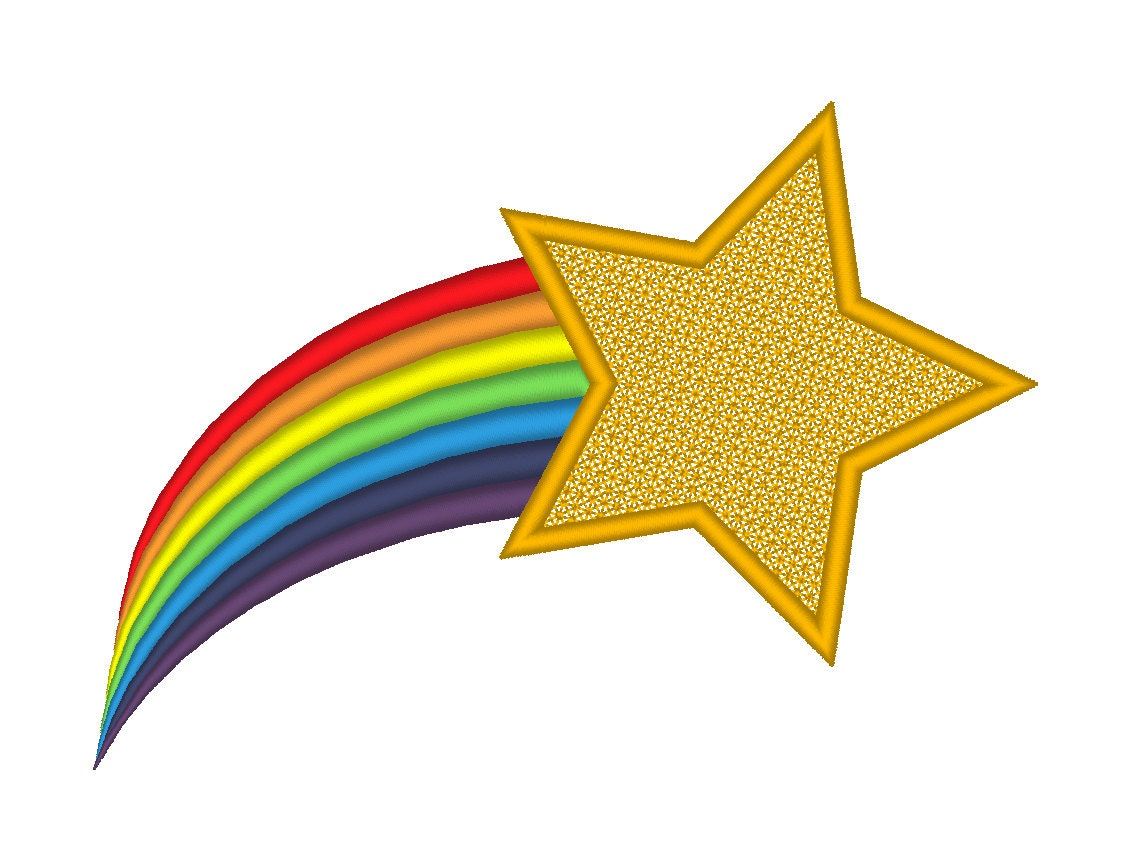 shooting star rainbow tail embroidery machine design rh etsy com shooting star graphic images shooting star graphic images