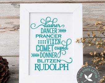Dasher Dancer Rudolph Reindeer Names Vinyl   Christmas Holiday Decal Sticker