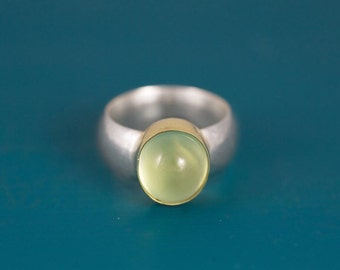 Sterling silver and gold prehnite ring