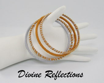 Gold and Blue Thread Wrapped Bangles, Gold and Blue Bangles, Thread Bangles, Free USA Shipping