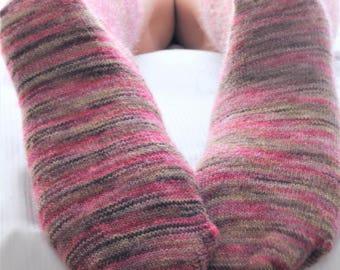 Heathered PINK SILK/Mohair Bed Socks Knee High - Hand Cranked - Autumn/Fall Socks - Mottled - Soft and Silky Socks - Woodland - Country Boho