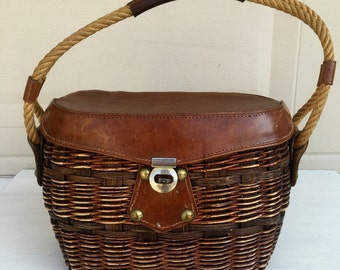 Vintage Leather Basket Purse w/Rope Handles