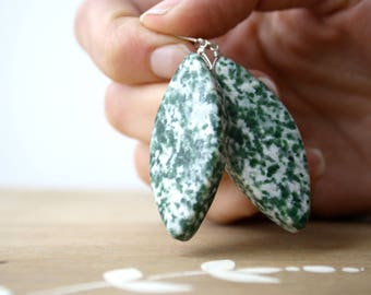 Statement Earrings Gemstone . Tree Agate Earrings . Large Gemstone Earrings Big . Green Stone Earrings . Green Agate Earring Leverback